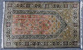 Fine Silk HEREKE Hand Knotted Pictorial Prayer Rug