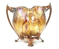 LOETZ Bronze Mounted Art Glass Vase