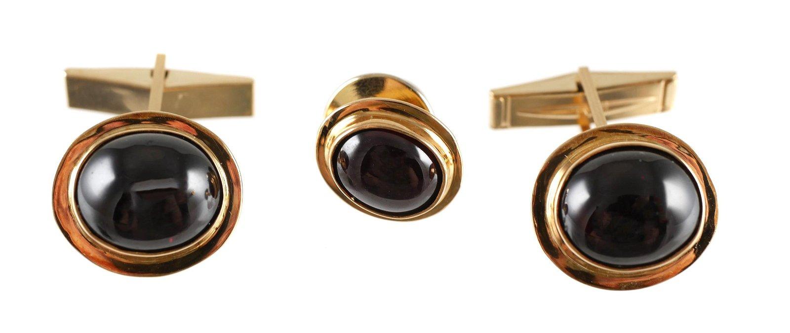 Pair 14K Gold & Almandite Cufflinks with Tie Tack