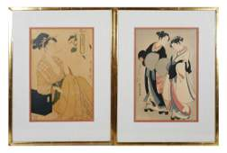 Pair Japanese Woodblock Prints Beauties
