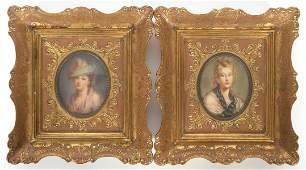 Pair Victorian Miniature Portraits Signed Vasco