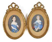 (2) 19th C Miniature Portraits of Children