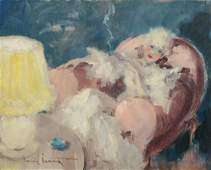 LOUIS ICART, Oil on Board, Woman with Cigarette