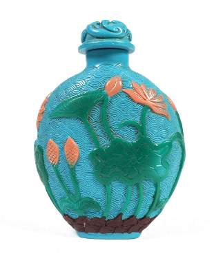 Cameo Glass SNUFF BOTTLE Birds Flowers