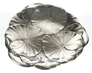 Art Nouveau Sterling Silver Lily Pad Tray