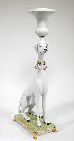 Monumental Italian Ceramic Greyhound Planter