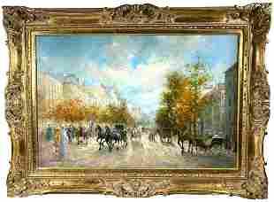 T. E. PENCKE, Paris Street Scene, O/C