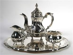 Antique German 835 Silver Tea Set