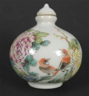 Chinese Painted Ceramic SNUFF BOTTLE