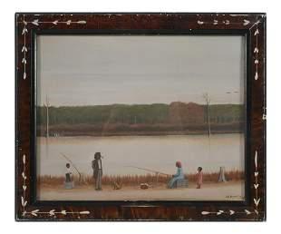 J.E. BAKER, Folk Art Beach Scene, Black Americana
