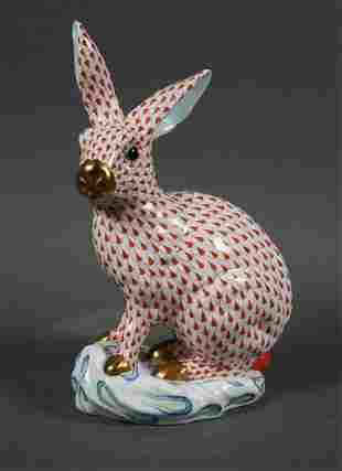 Herend Porcelain Large Red Fishnet Rabbit #5334