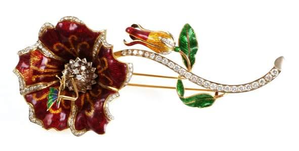 18K Enamel & Diamond Flower Butterfly Brooch