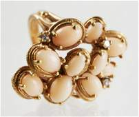 14K Yellow Gold Pink Coral Cluster Ring
