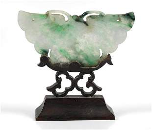 Carved Chinese Celadon Jade Butterfly Sculpture