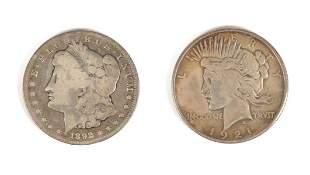 1921 Peace Dollar & 1892 CC Morgan Silver Dollar