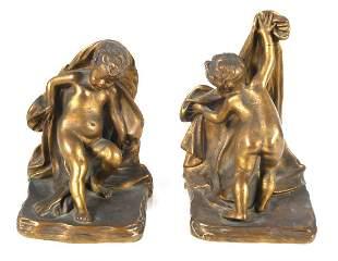 Sterling Bronze Co. New York Cherub Bookends