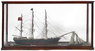 "ANTIQUE Ship Model Whaling Bark ""Swallow"""