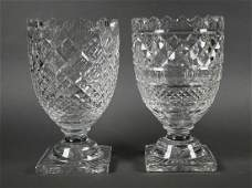 2 Waterford Crystal Footed Glass Vase Centerpiece