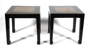 Pair Qing Dynasty Black Lacquer Low Stools