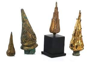 (4) Thai Bronze Buddha Flame Siraspata Sculpture