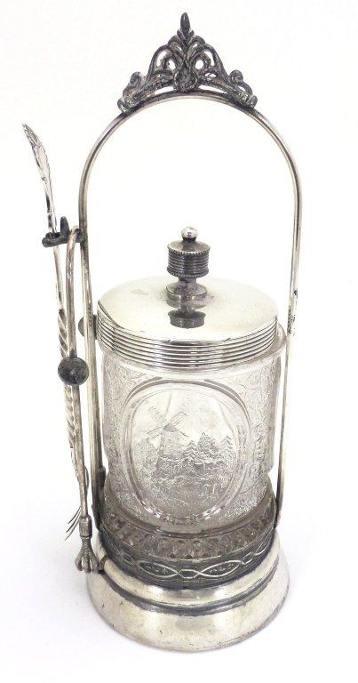 Victorian pickle castor with scenic jar