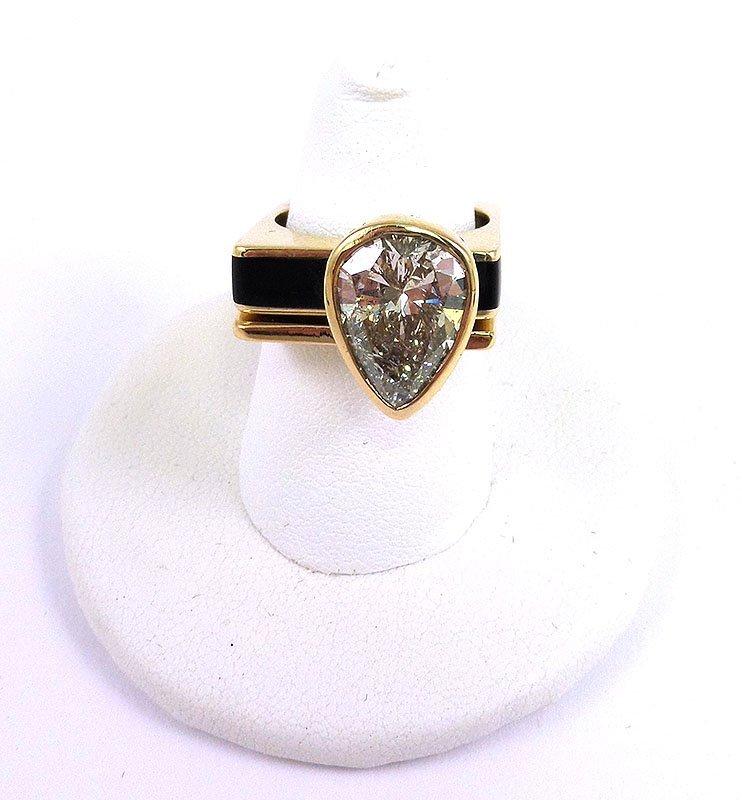4.10 carat diamond ring pear shaped 14K