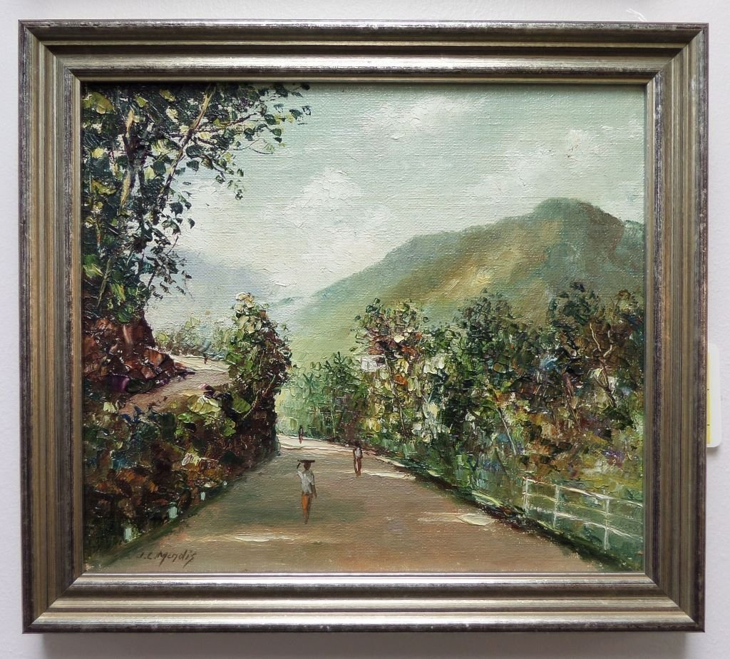 Oil painting on board landscape scene JC Mendis