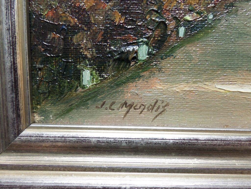 Oil painting on board landscape scene JC Mendis - 2