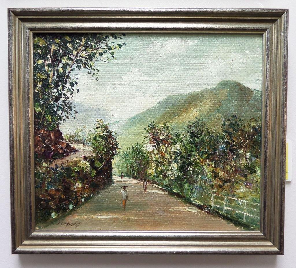 Oil painting on board landscape scene JC Mendis - 4