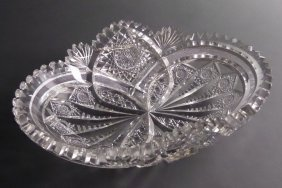 "Gorgeous Signed Hawkes 10-1/2"" Oval Cut Glass Bowl"
