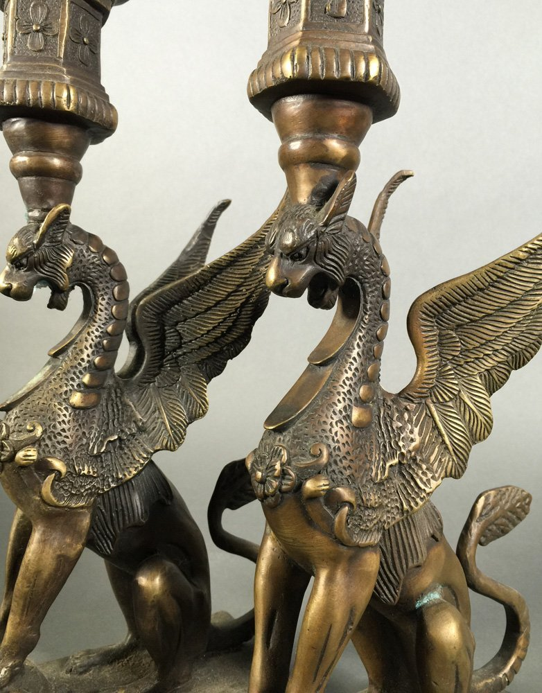 Pair of Antique Bronzed Gryphon Candlesticks - 3