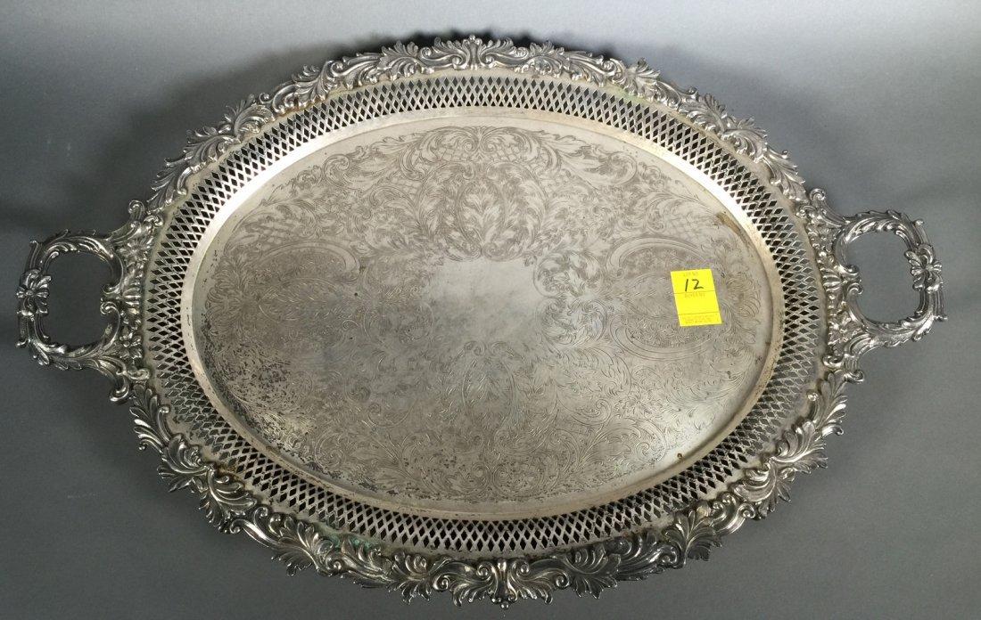 "Ornate Silverplate Openwork Handled 30"" Tea Tray"