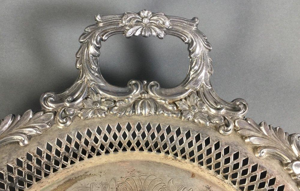 "Ornate Silverplate Openwork Handled 30"" Tea Tray - 2"