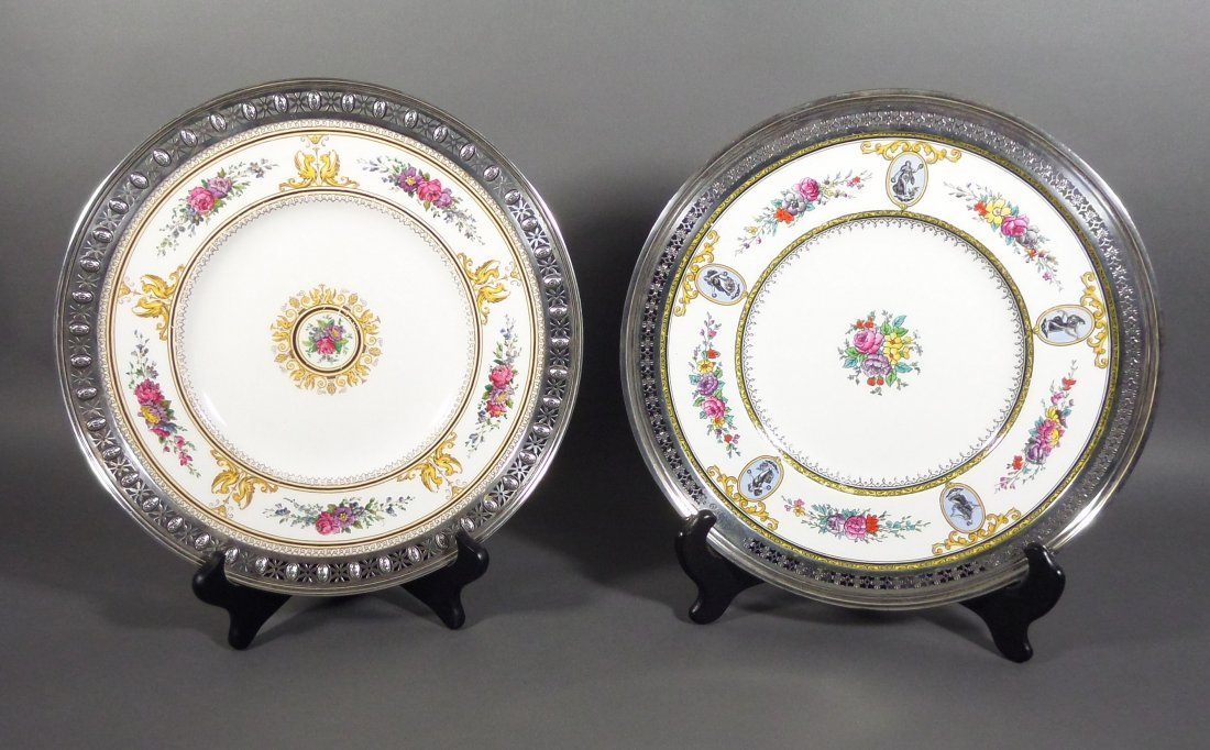 2 Sterling Silver Rimmed WEDGWOOD Chargers