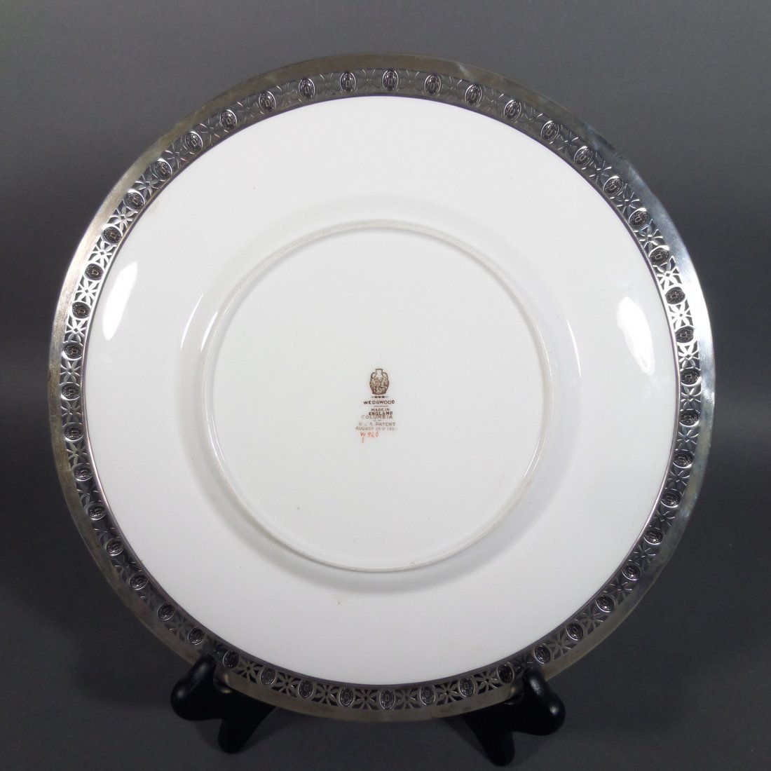 2 Sterling Silver Rimmed WEDGWOOD Chargers - 4