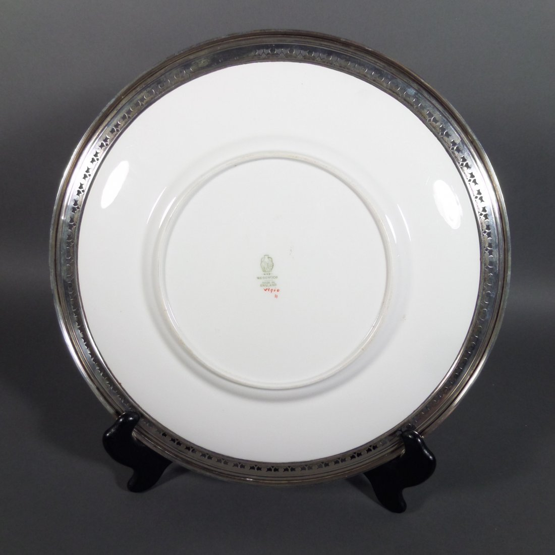 2 Sterling Silver Rimmed WEDGWOOD Chargers - 8