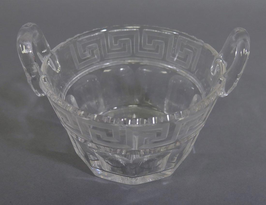 Rare HAWKES Greek Key Cut Glass Ice Bucket