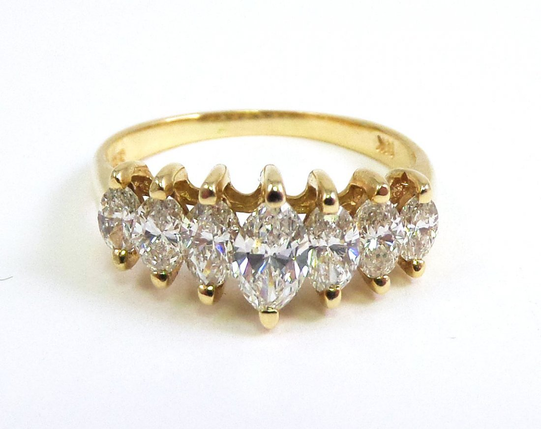 14k Yellow Gold Marquis DIAMOND RING, 1 ct