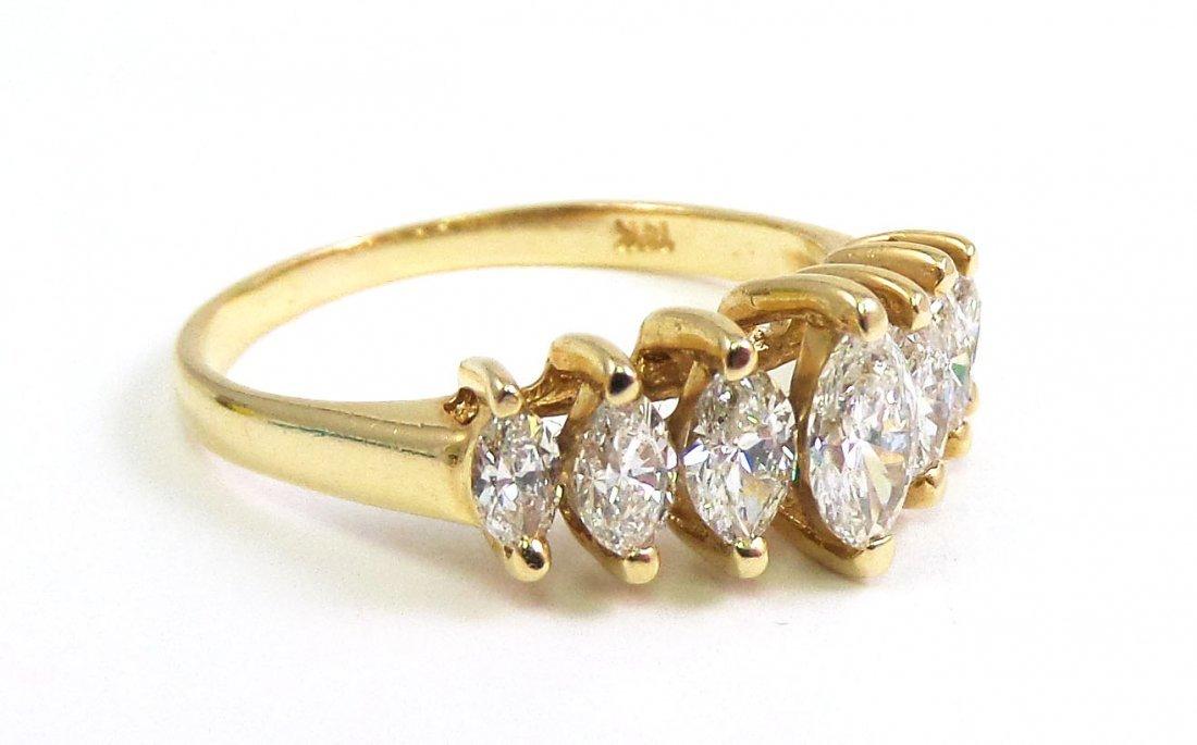 14k Yellow Gold Marquis DIAMOND RING, 1 ct - 2