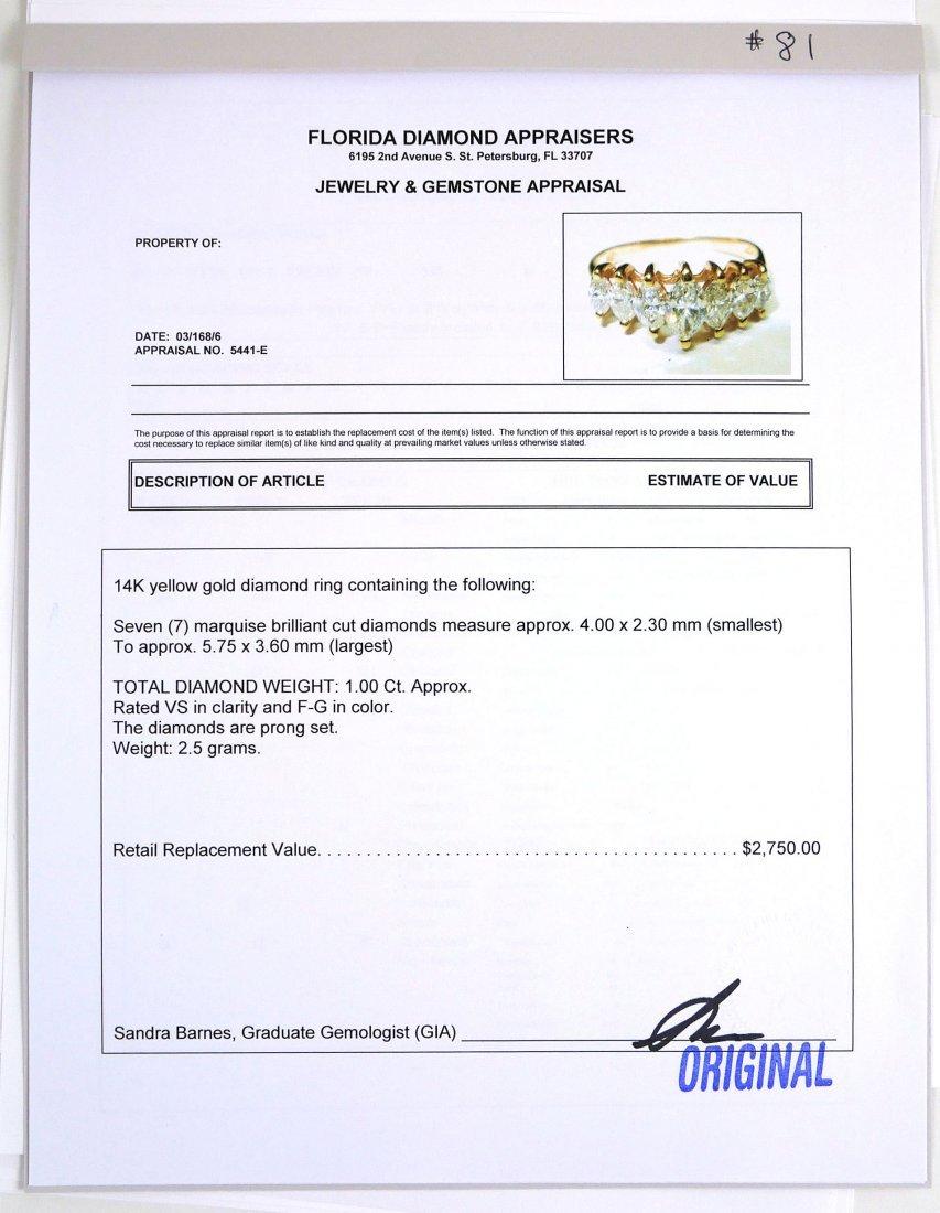 14k Yellow Gold Marquis DIAMOND RING, 1 ct - 4