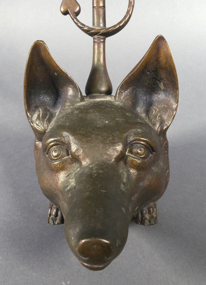 Victorian Figural FOX HEAD English Brass Door Stop - 8