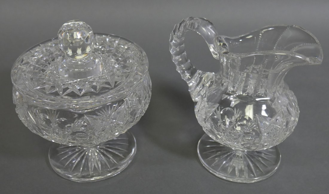 TUTHILL ABP Cut Glass FOOTED Creamer & Sugar