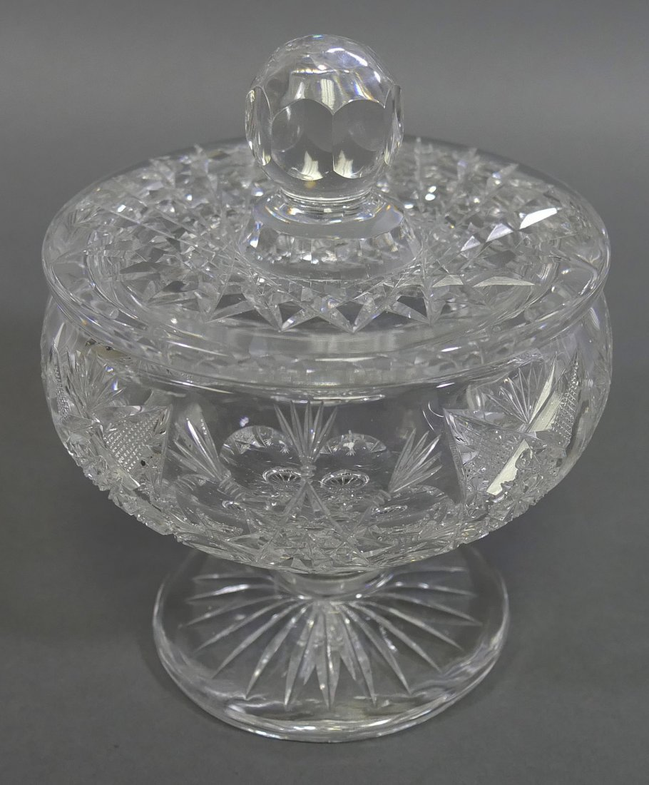 TUTHILL ABP Cut Glass FOOTED Creamer & Sugar - 6
