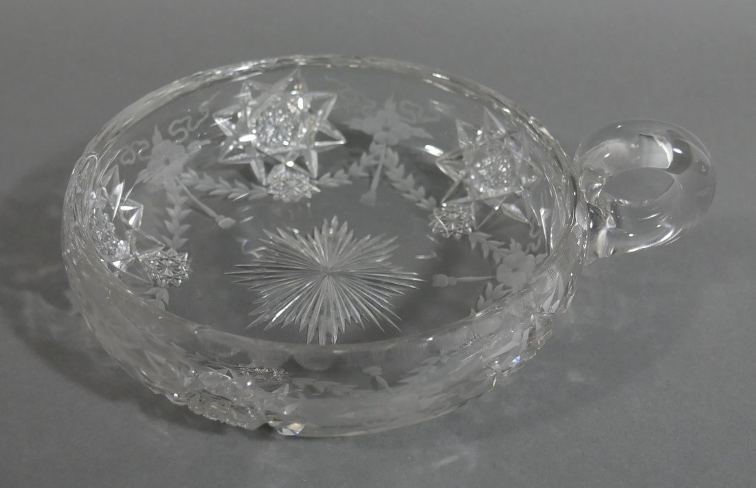 HAWKES Signed Cut Glass Handled Bowl ABP