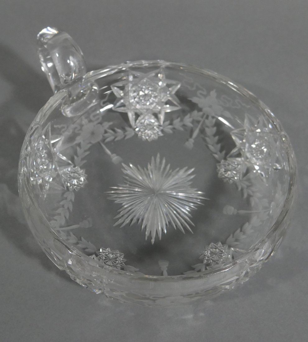 HAWKES Signed Cut Glass Handled Bowl ABP - 2