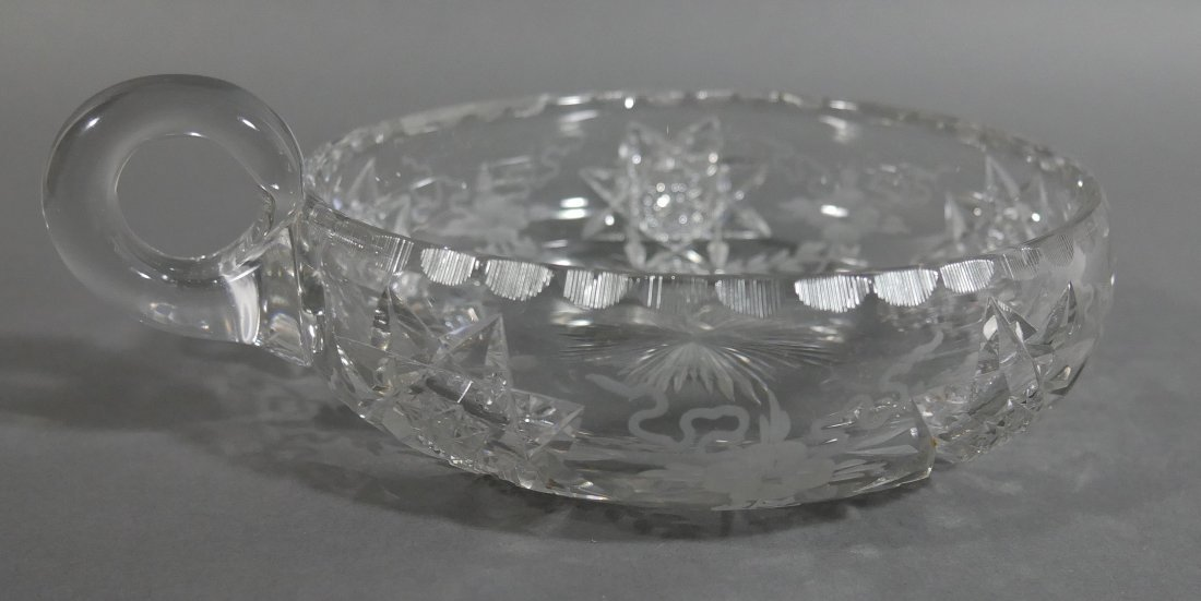 HAWKES Signed Cut Glass Handled Bowl ABP - 3