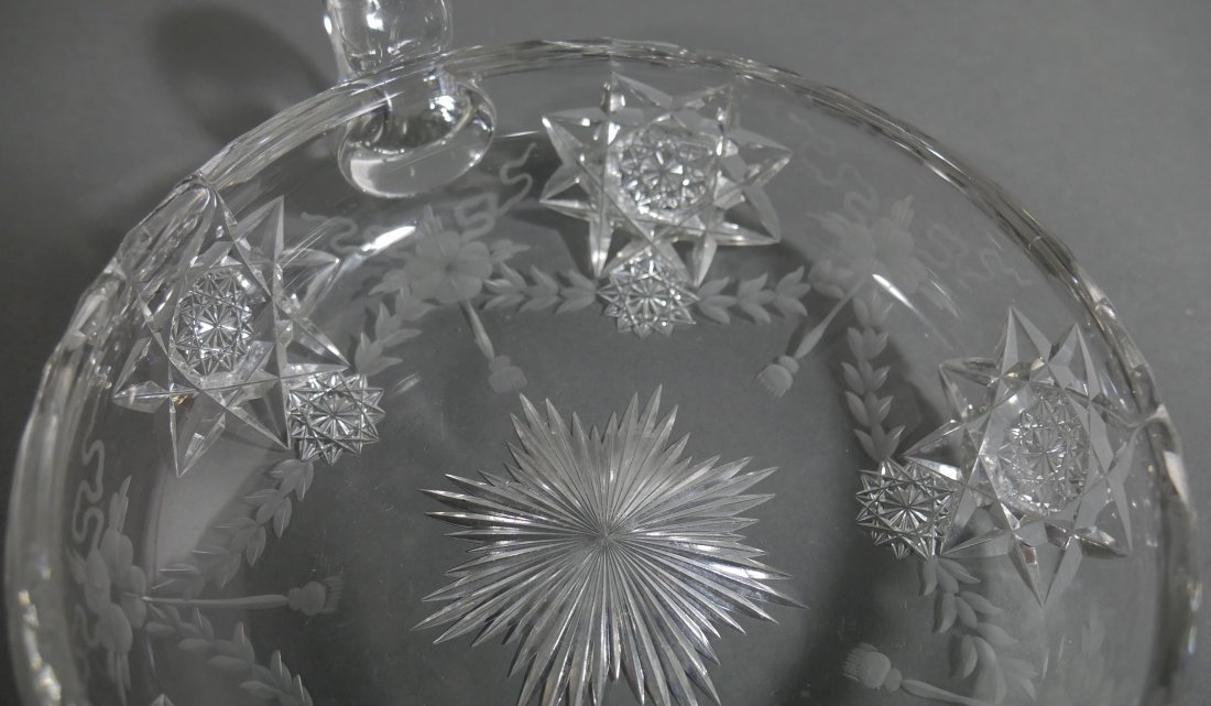 HAWKES Signed Cut Glass Handled Bowl ABP - 4