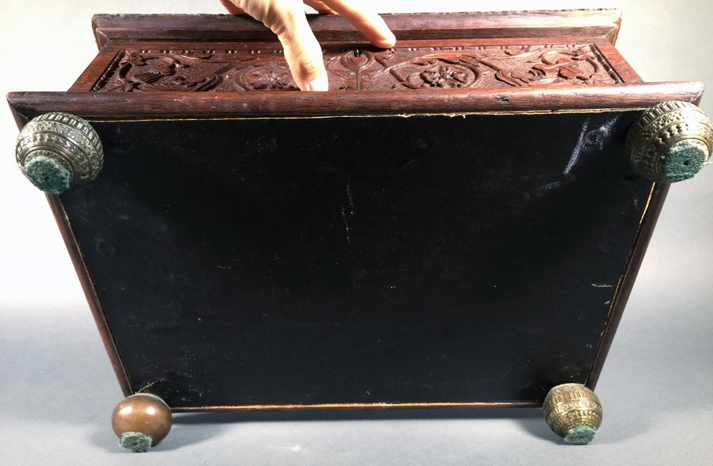 Fancy Victorian Oak BIBLE BOX Carved Casket Trunk - 10