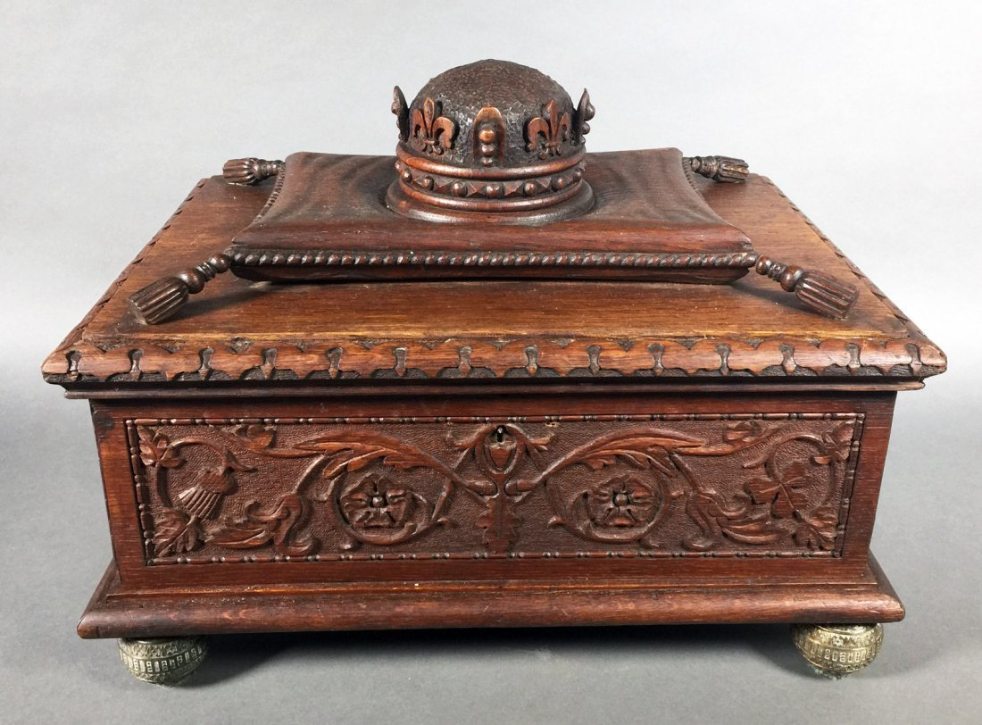 Fancy Victorian Oak BIBLE BOX Carved Casket Trunk