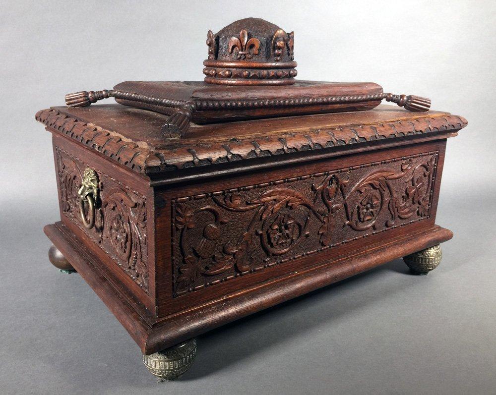 Fancy Victorian Oak BIBLE BOX Carved Casket Trunk - 2